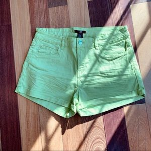 H&M Lime Green High Waisted Shorts, size 8